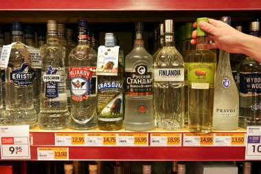 Various Vodkas in a Store