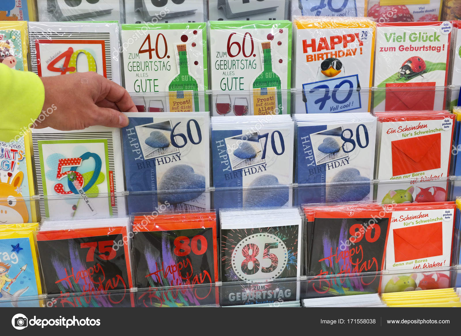 Germany August 2017 Hand Selects Card Display Greeting Cards Store