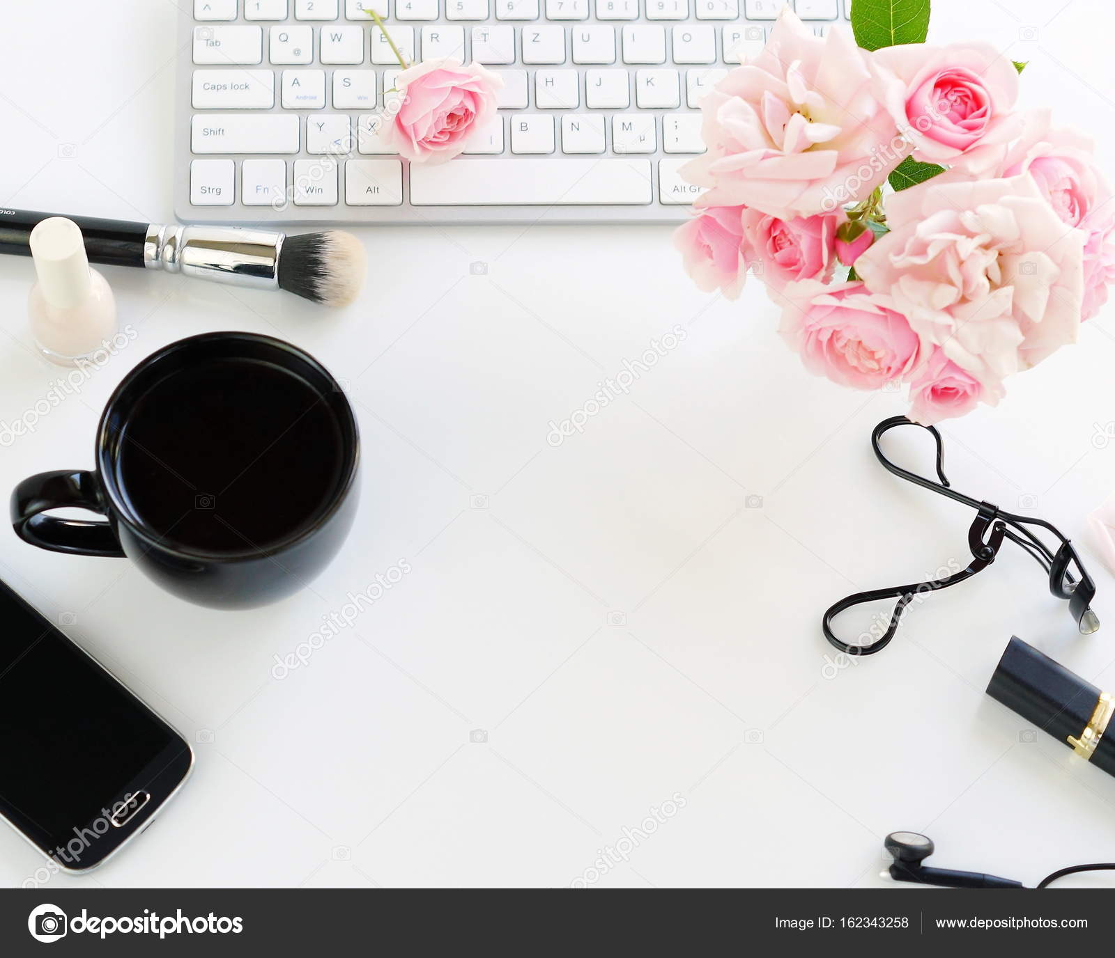 Flat Lay, Top View Office Feminine Desk, Female Make Up Accessories,  Workspace With Part 88
