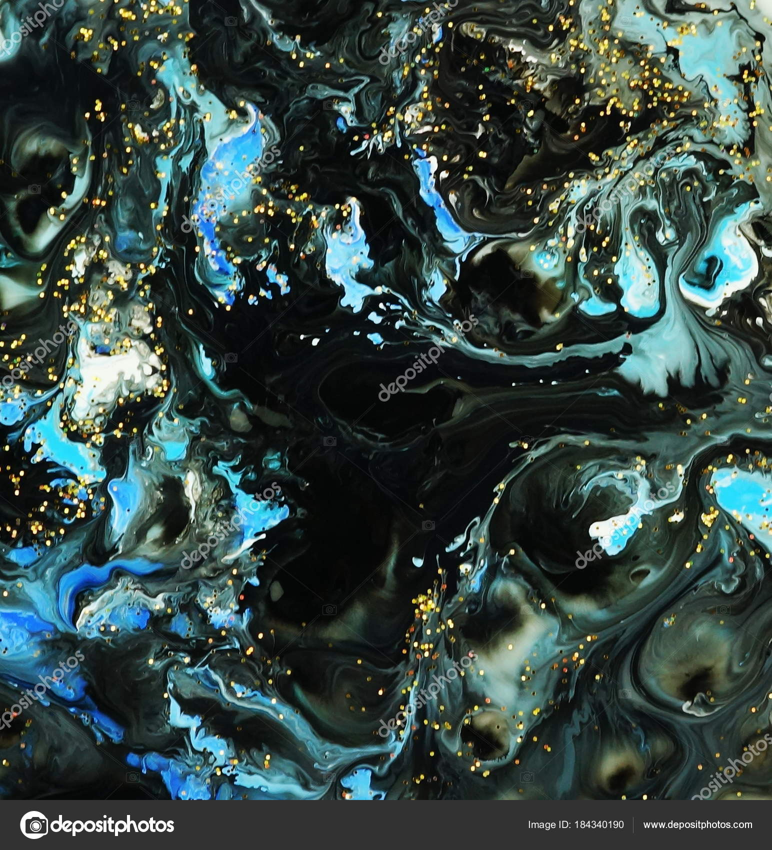 Abstract Marble Black Blue White Color Paint Gold Glitter