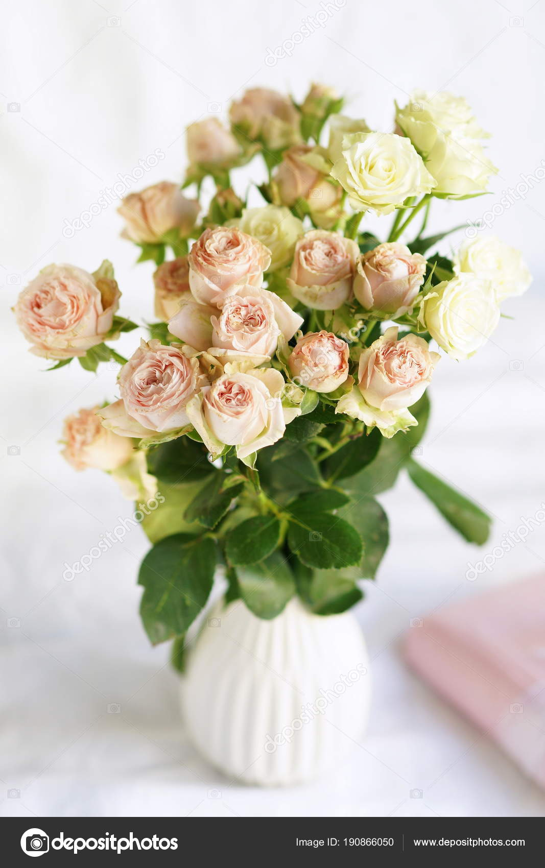 Bouquet Pale Pink Roses Vase Beautiful Holiday Background Stock