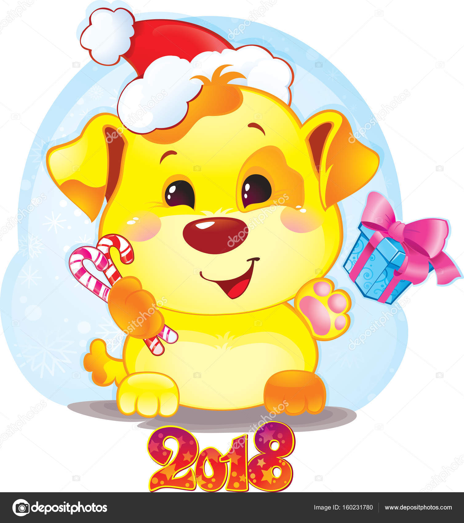 happy 2018 new year card funny puppy congratulates on holiday symbol of chinese horoscope for 2018 cute puppy in cartoon style vector by savitska