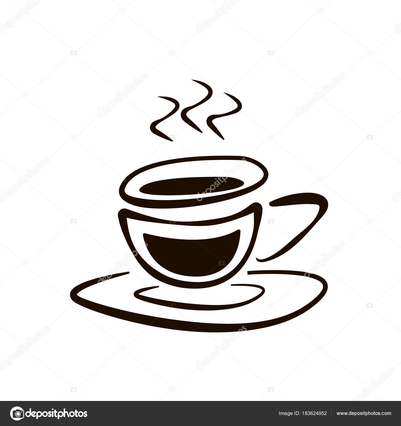Cup Coffee Saucer Doodle Drawing Vector Icon Vector Image By C Fdesigner Vector Stock 183624952