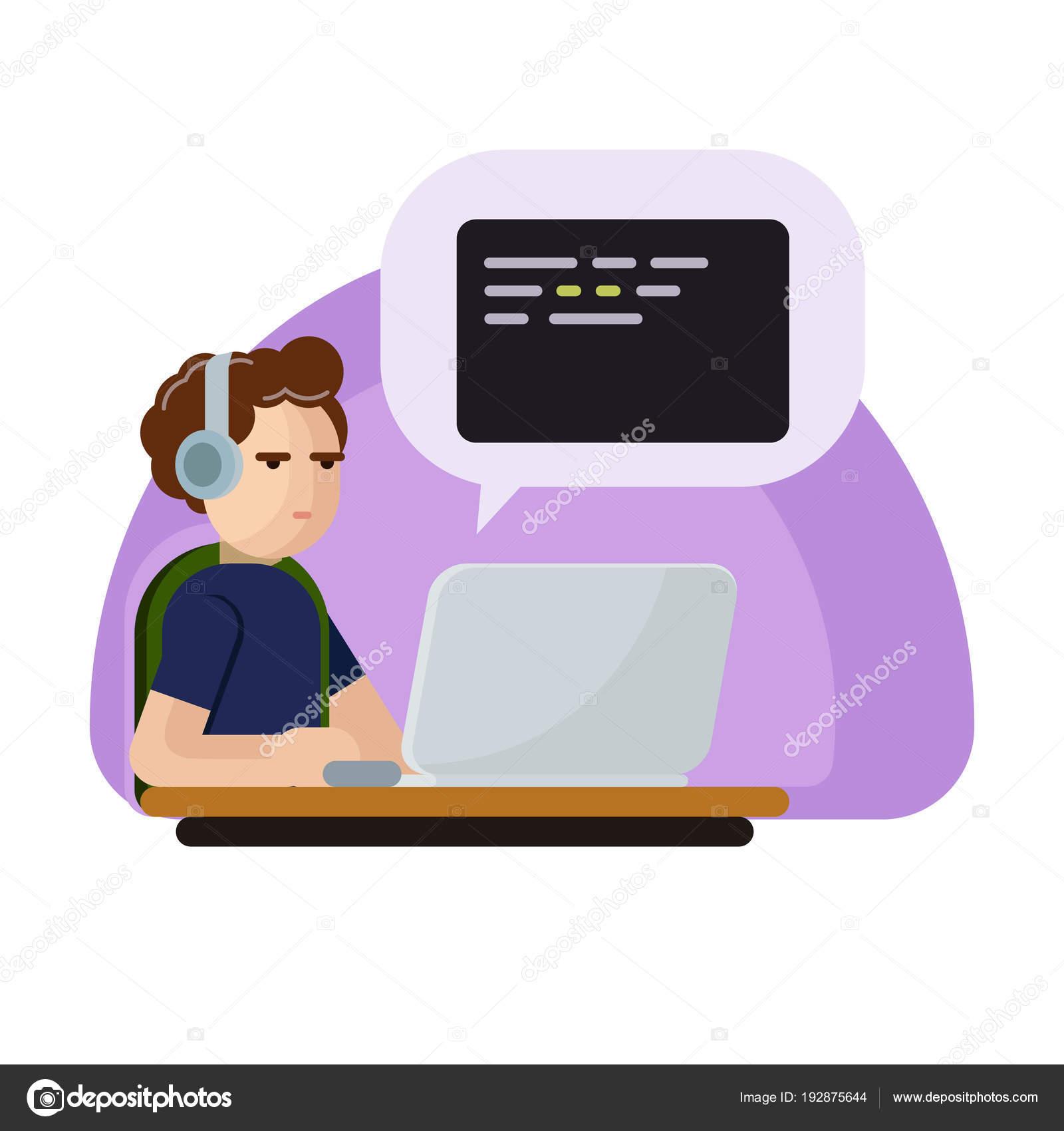Junge Programmierer Mann Zeichen Codierung Vektor Flache Cartoon