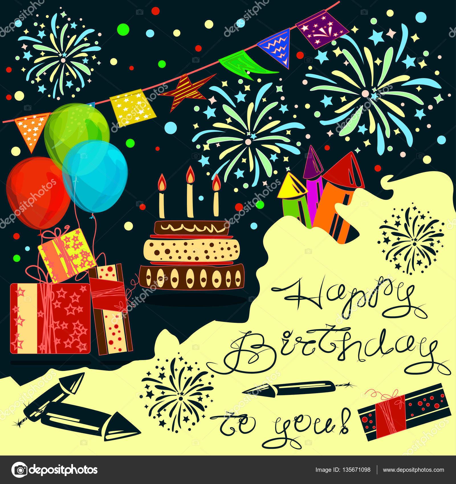 Gelukkige Verjaardag Aan Je Achtergrond Ballonnen Wensen