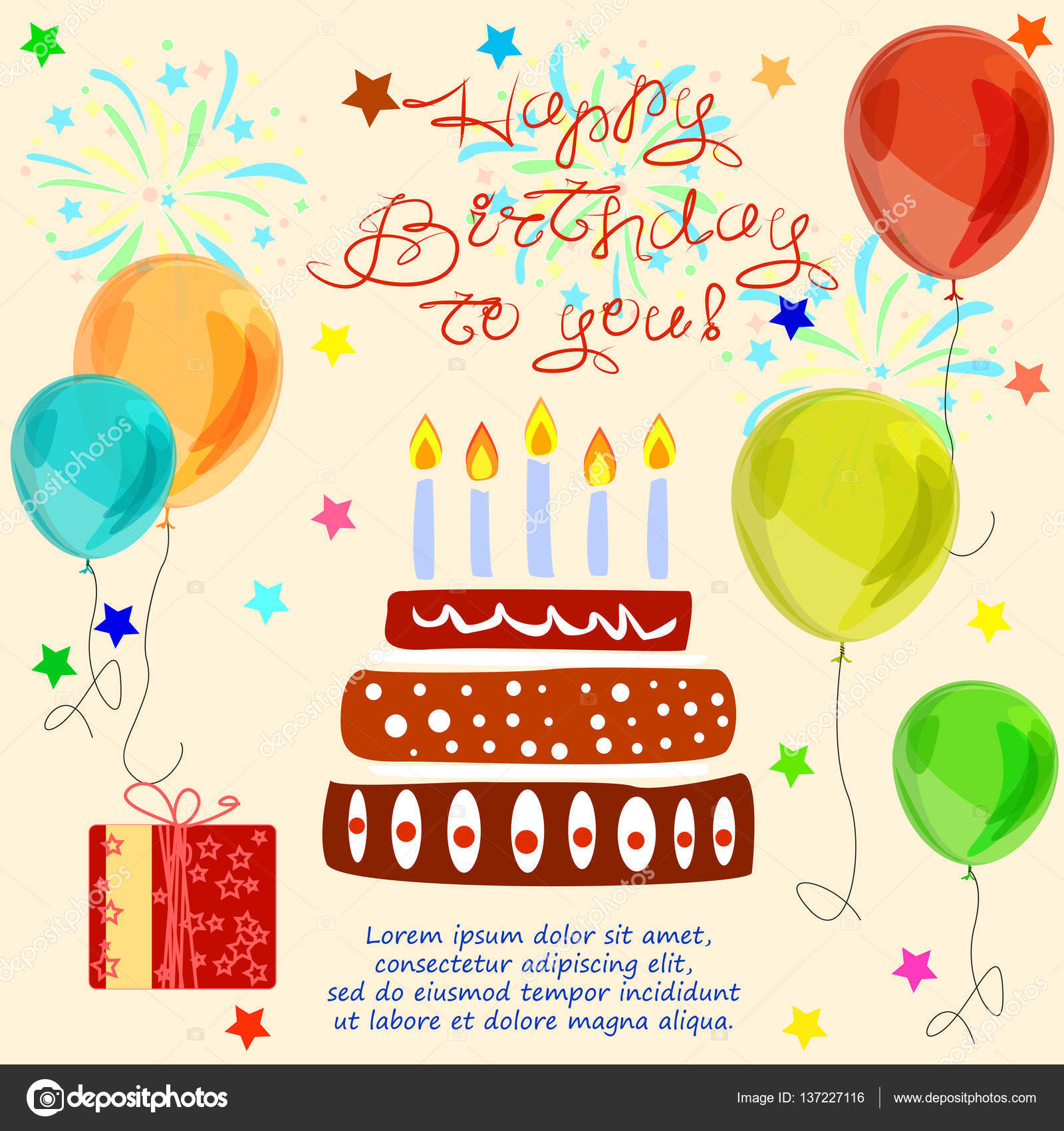 Happy Birthday Day Card Cake Candles Firework Balloons Gifts Stars It Can Be Used As Greeting Background Poster Design Element In Your