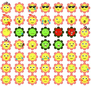 Smiley flower face icons or yellow emoticons with emotional funny faces isolated in white background. Vector illustration