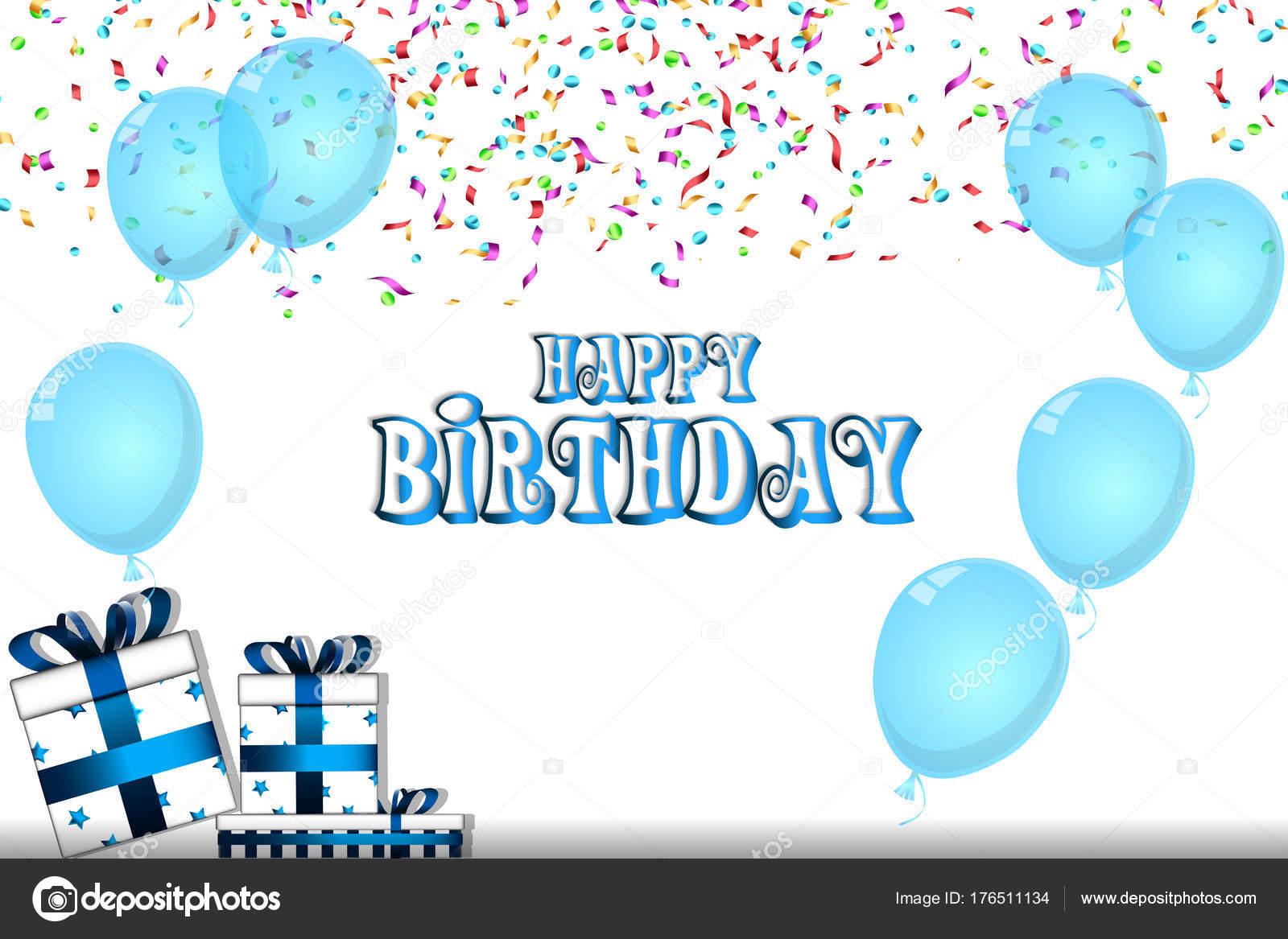 Cartolina buon compleanno con palloncini coriandoli - Immagine con palloncini ...