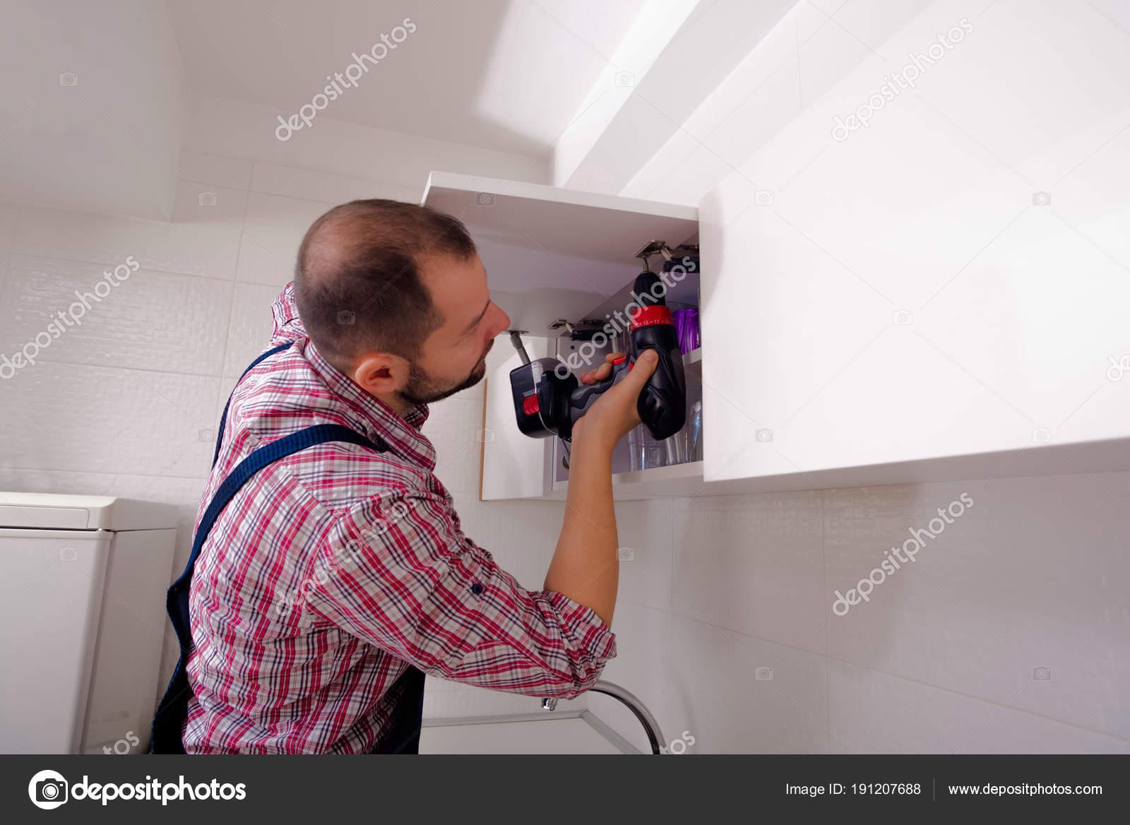 Handyman Repair Door Cabinet Kitchen Stock Photo C Gorgev 191207688