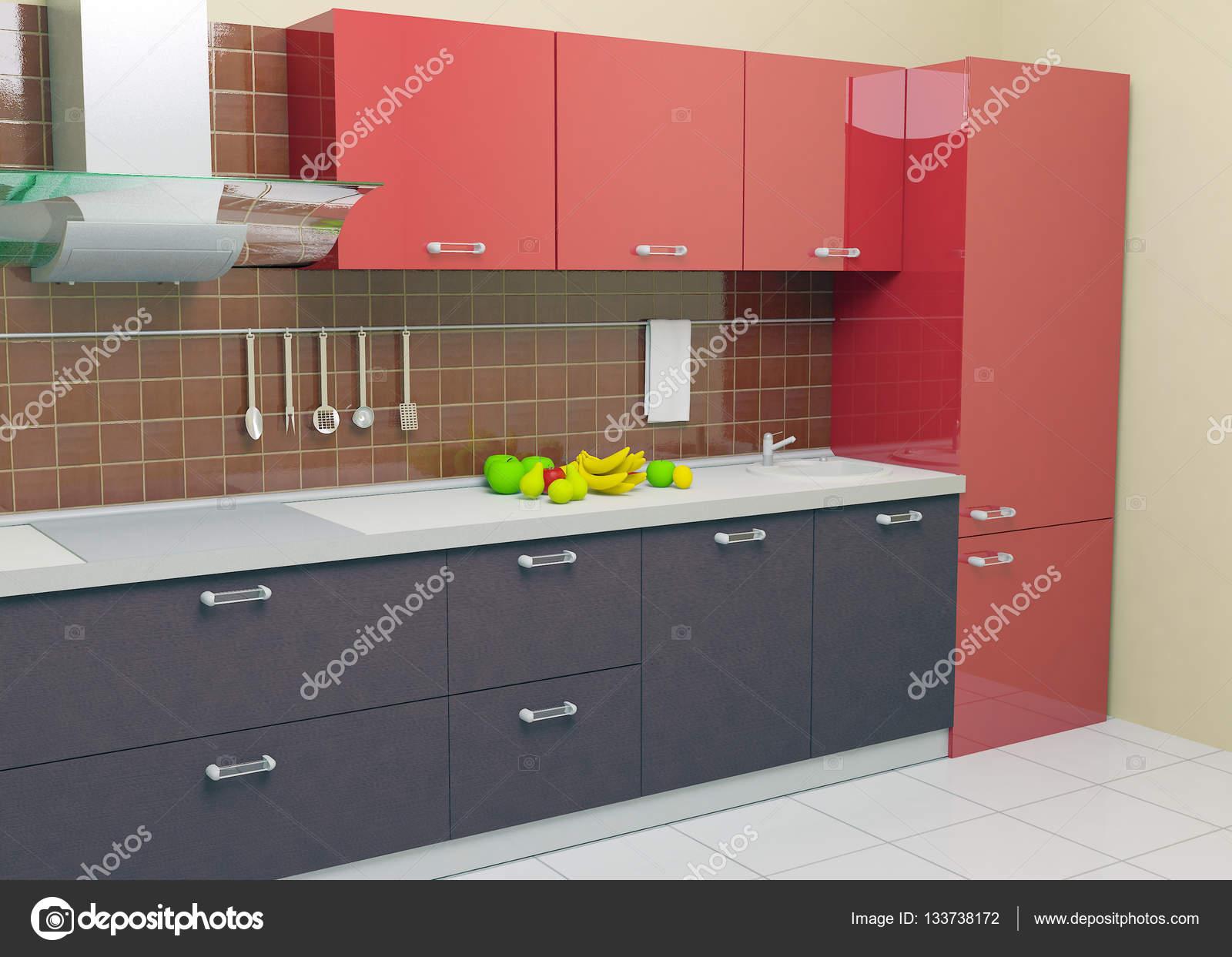 cucina moderna rossa — Foto Stock © Polli735 #133738172