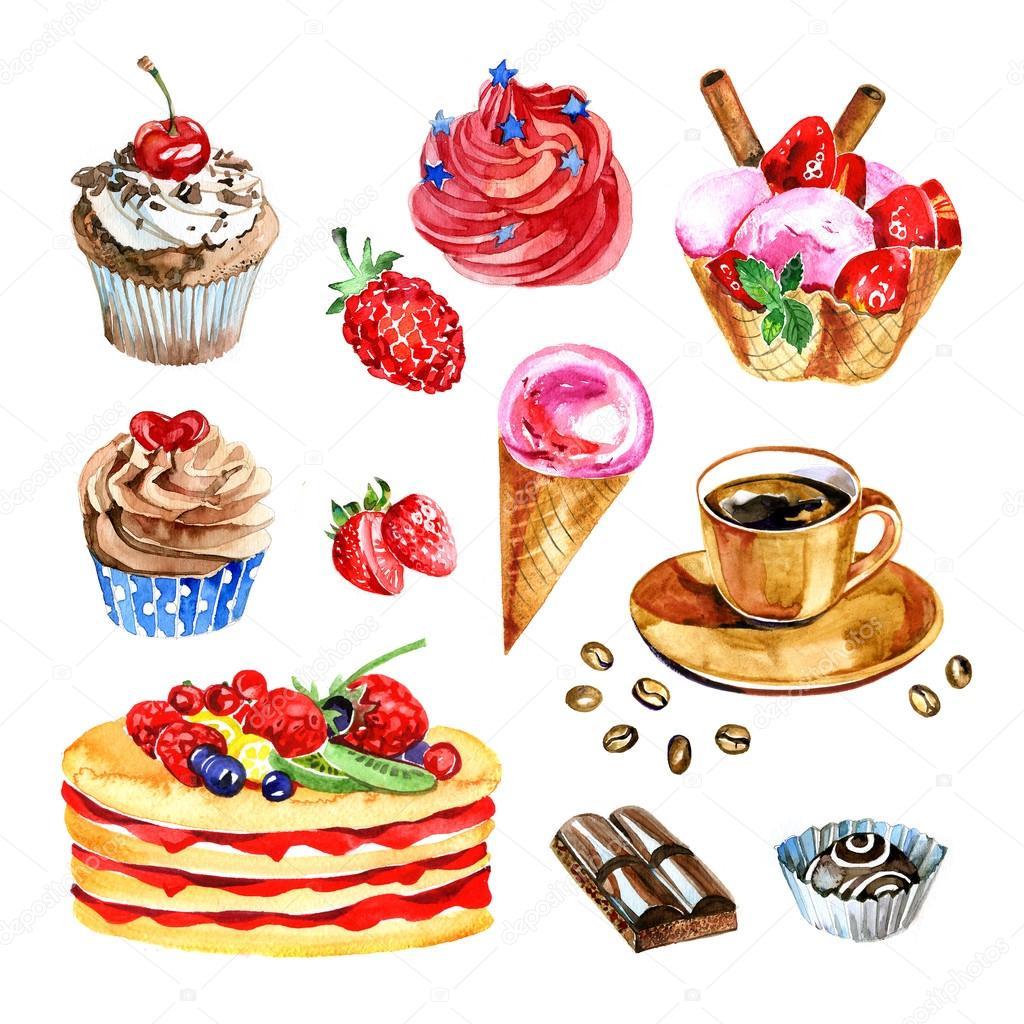 组的水彩甜点、 巧克力、 咖啡、 蛋糕、 手绘插图 — 图库照片#