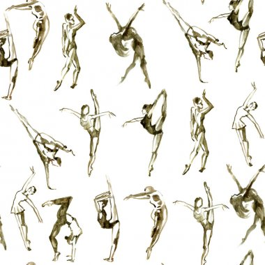 Sepia dancing peoples. Watercolor textured seamless pattern.