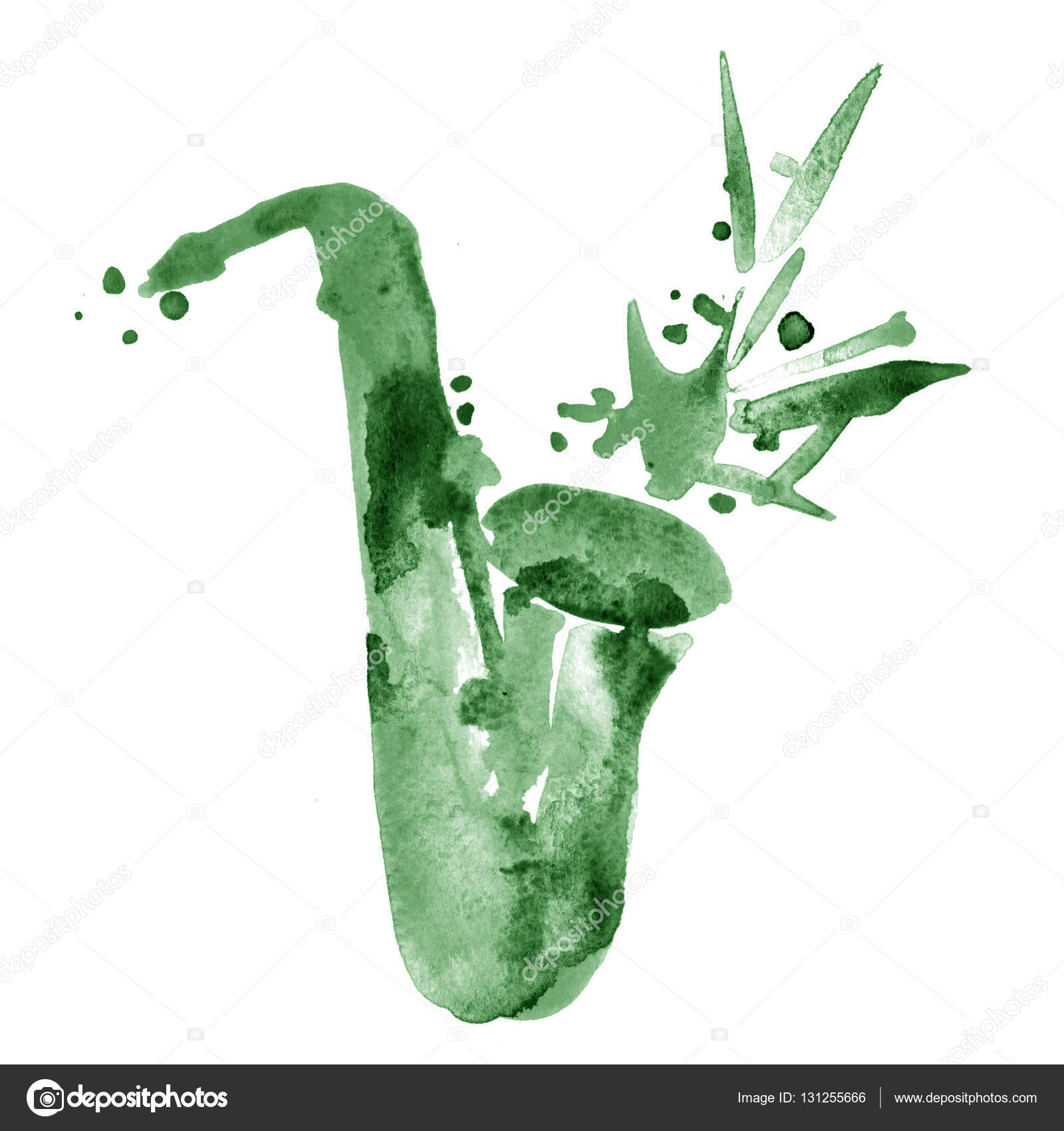 緑の古典的なアルト サックスのジャズ イラストを水彩 ストック写真