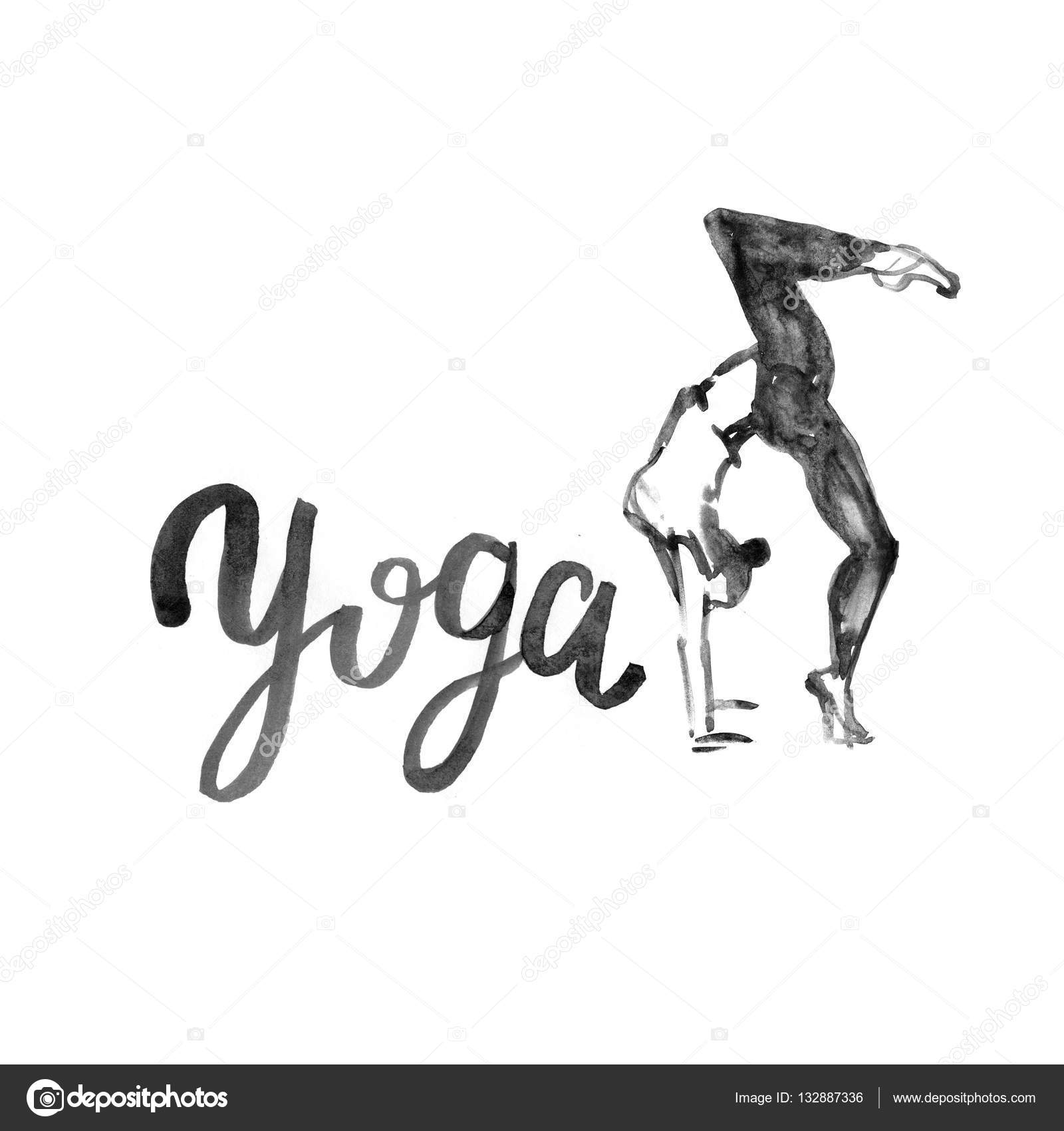 Watercolor Yoga Illustration Girl In Pose With Texture Logo For Class Studio Fitness Center Photo By 7slonov