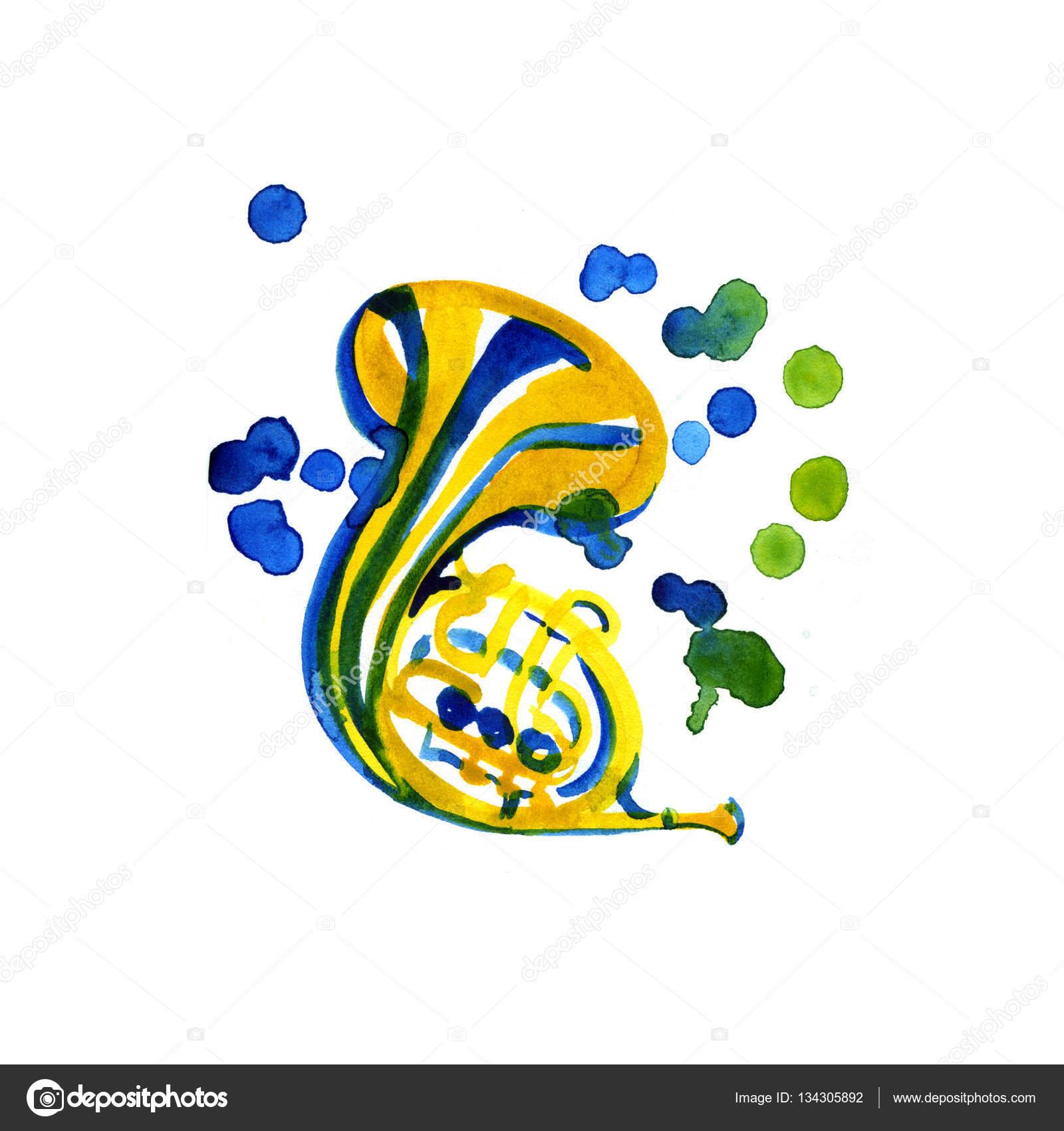 Modello grafico di strumenti musicali corno francese for Modello di paese francese
