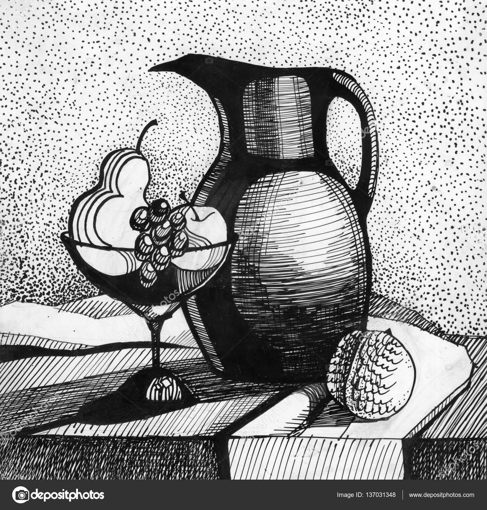 Ochutnavka Vin Zatisi Kresby Jidlo A Piti Zapisuje Pero Styl