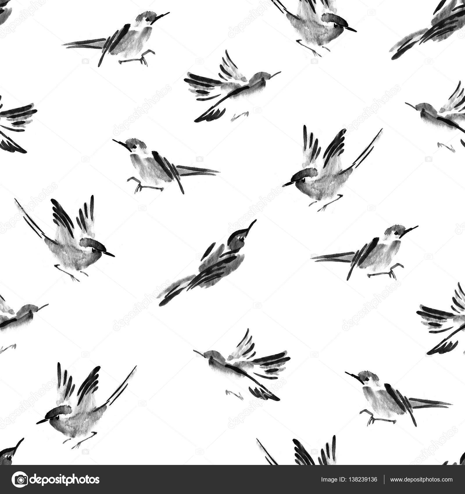 Aves acuarela de patrones sin fisuras pueden utilizarse para fondo ...