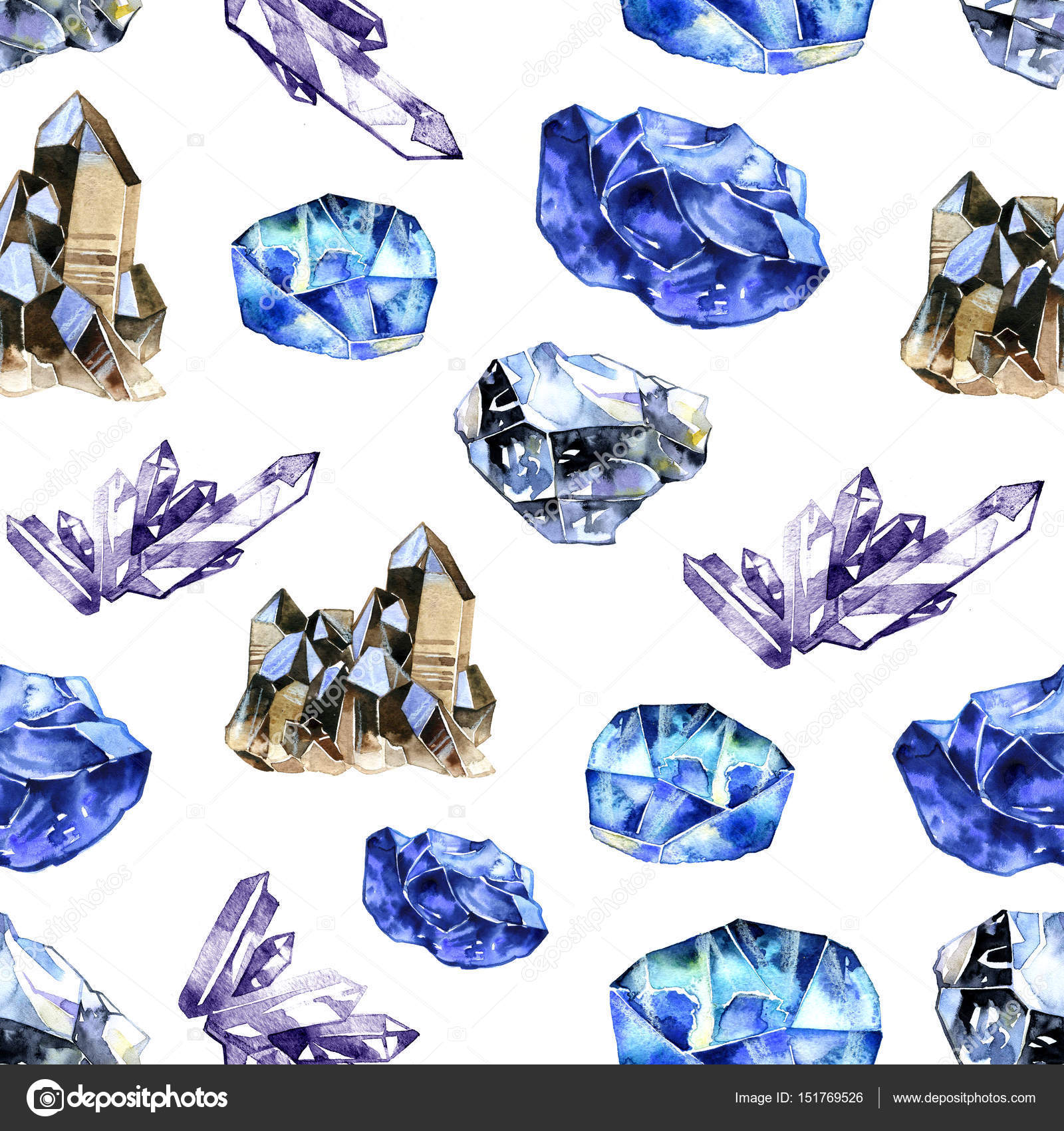 66a4d76f7 Akvarell kristályok drágaköveket. Kézzel rajzolt varrat nélküli ...