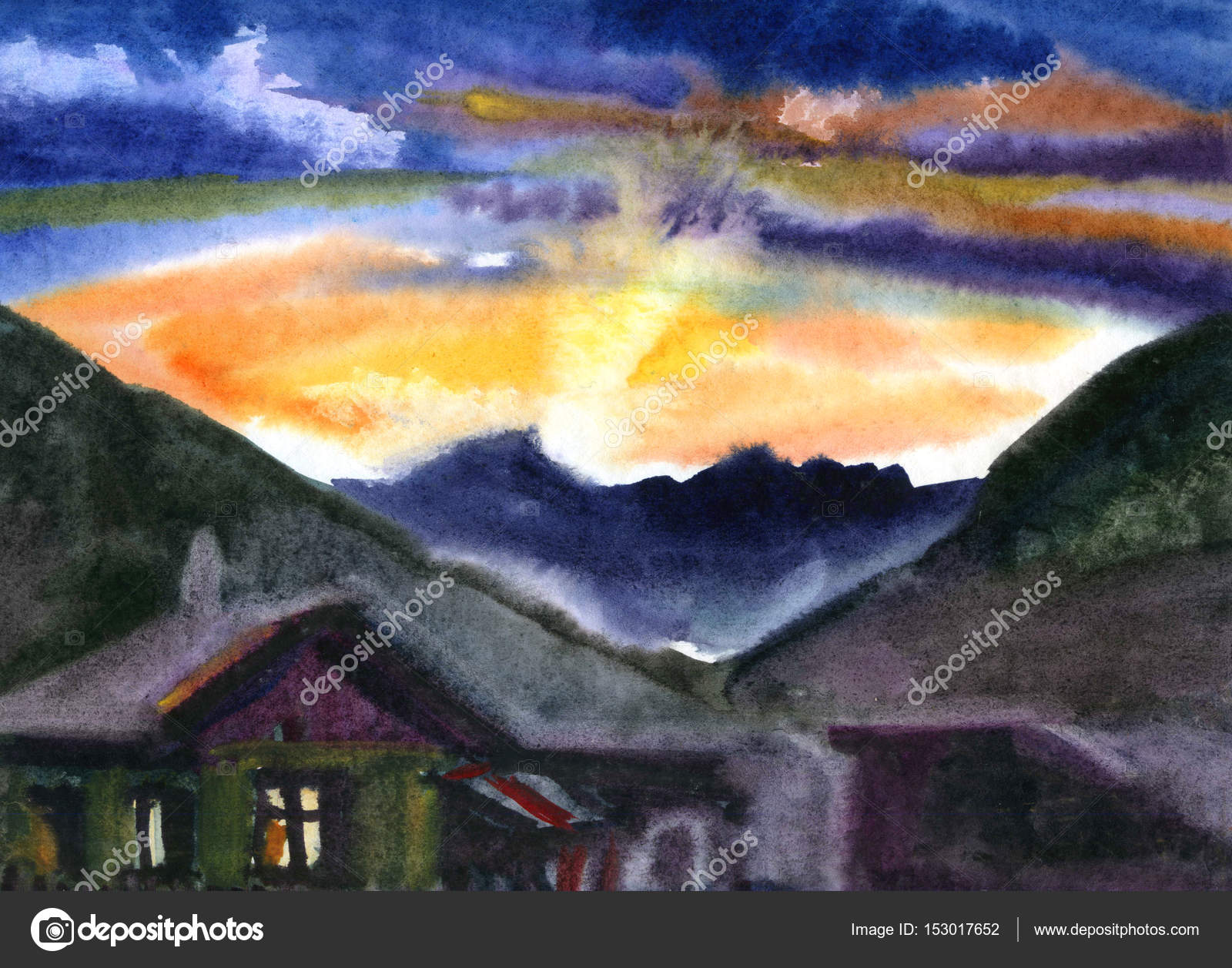 View From The Hill In Sunset Watercolor Painted Landscape Natural Colors Stock