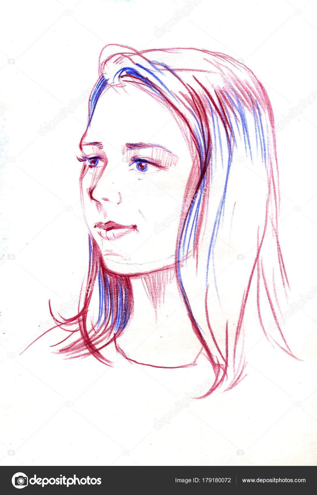 Portrait Dessin De Jeune Femme Visage De Femme Croquis De Belle