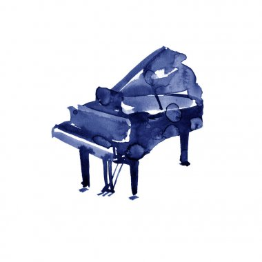 Piano. Musical instruments. Isolated on white background. Watercolor illustration
