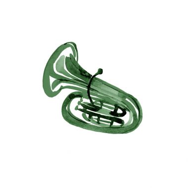 Watercolor copper brass band tuba green on white background