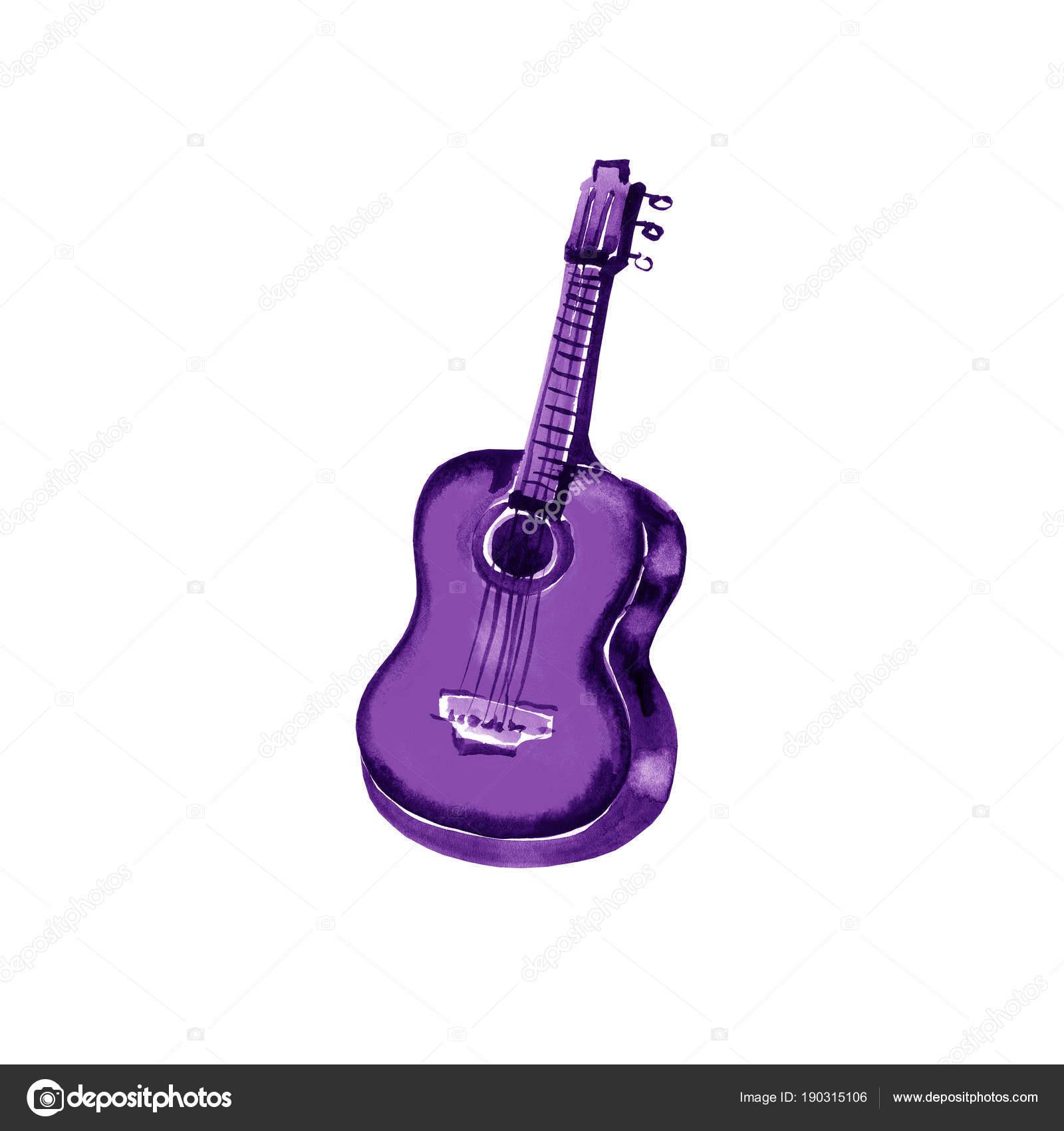 Acoustic Guitar Watercolor Illustration Violet On White Background