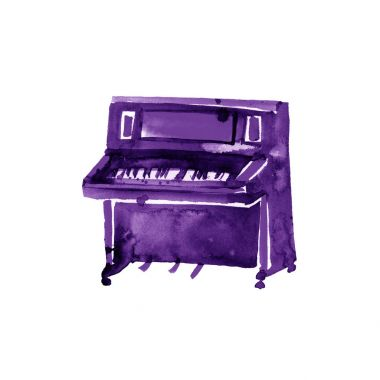 Piano. Musical instruments.Violet Isolated on white background. Watercolor illustration