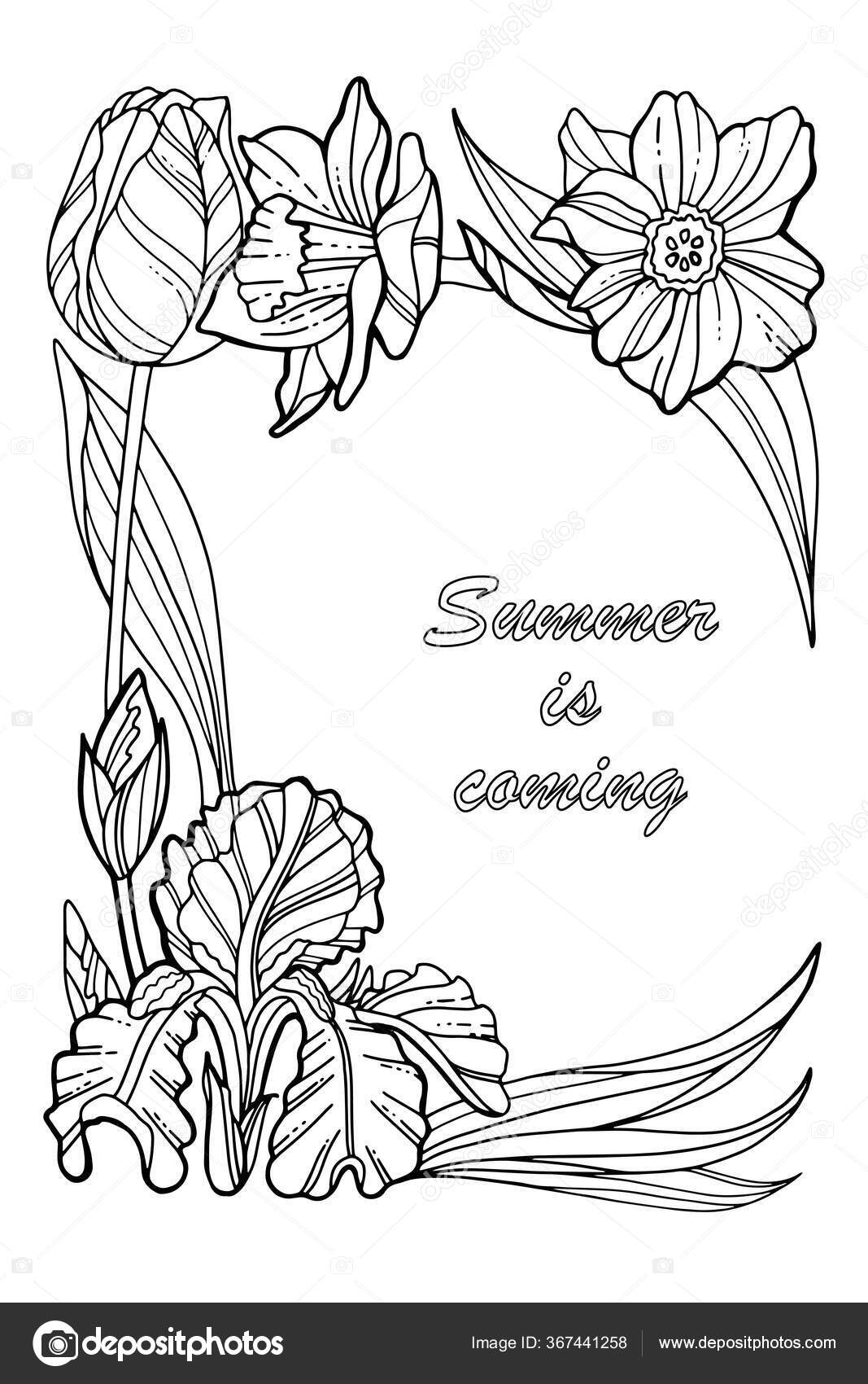 Summer Is Coming Coloring Book Page Decorative Wreath With Spring Flowers Stock Vector C 7slonov 367441258
