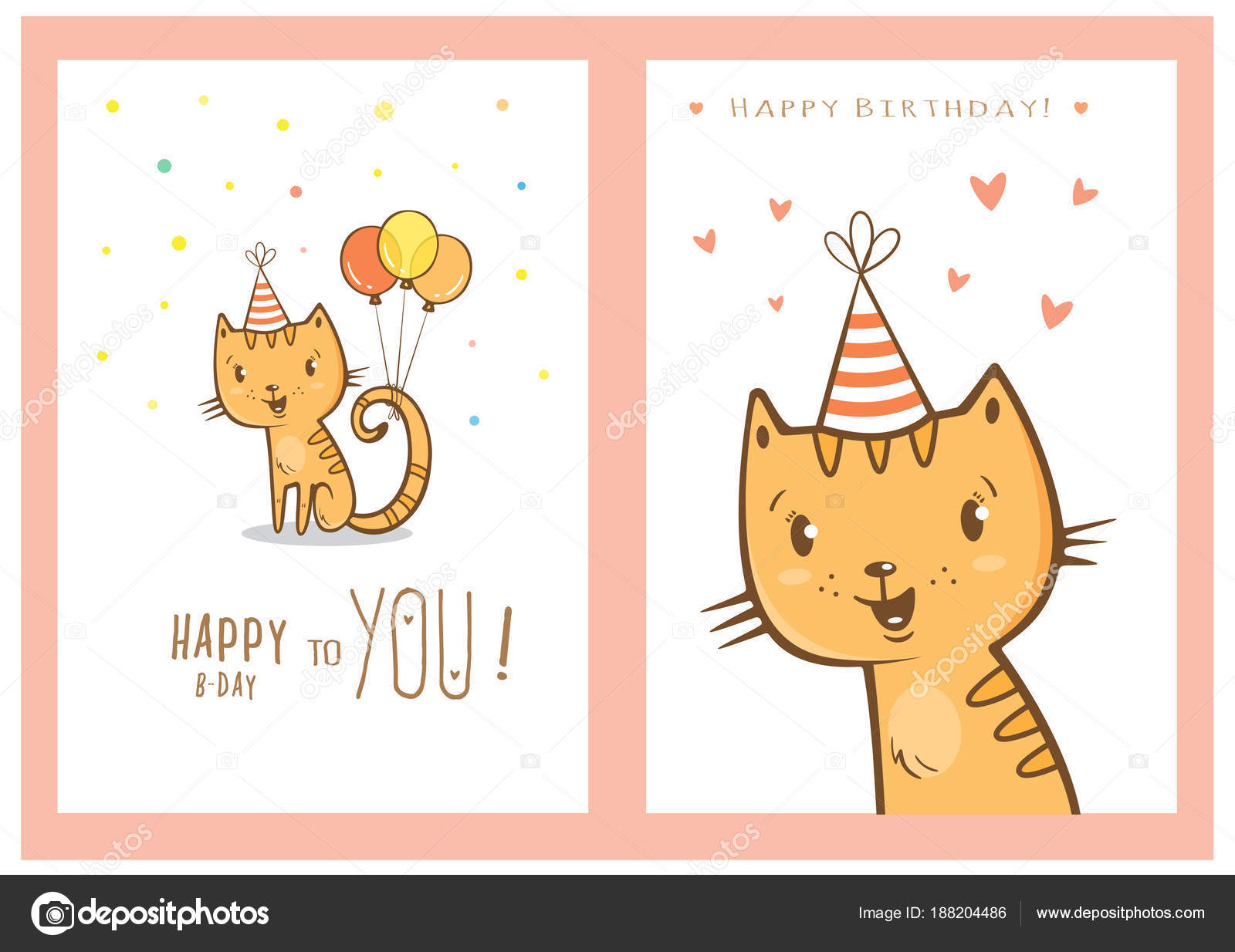 Birthday Cards Set With Cute Cartoon Cats Balloons And Party Hats Hearts Confetti Vector Contour Image Little Kittens Funny Animals