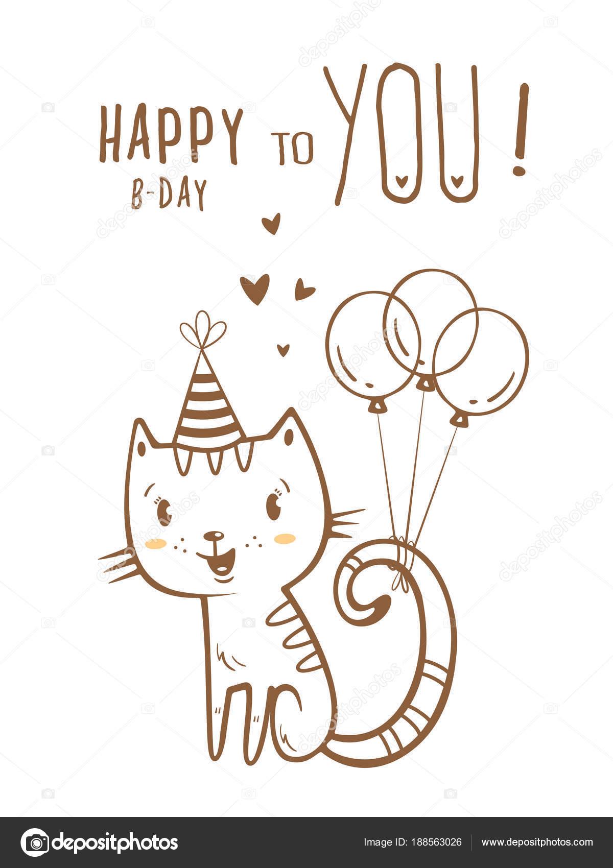 Tarjeta Cumpleaños Con Dibujos Animados Lindo Gato Sombrero Del ...