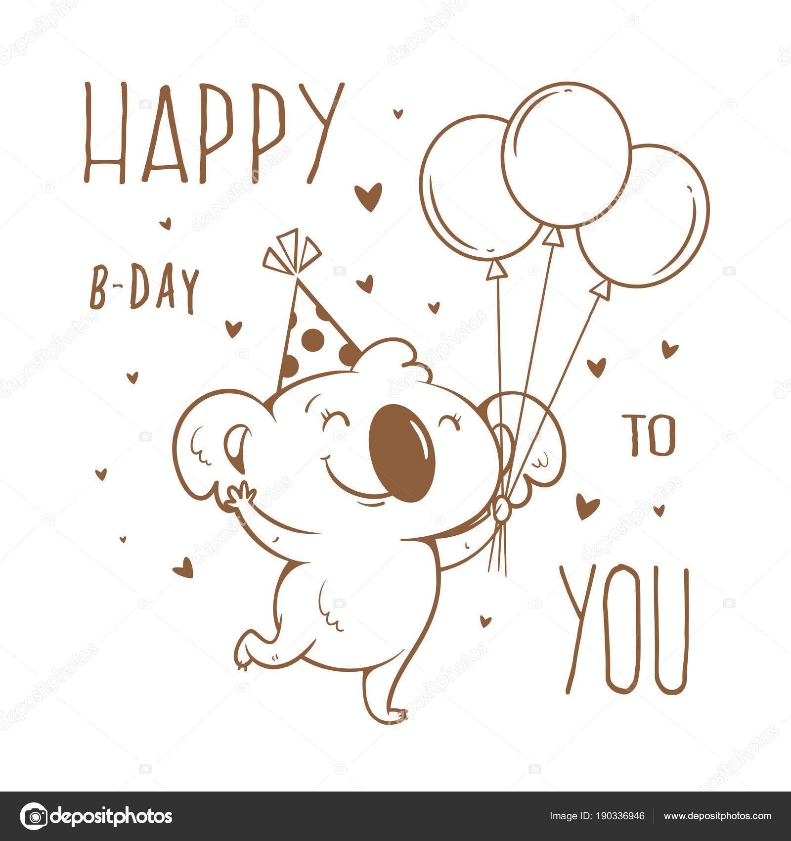 Tarjeta Cumpleaños Con Koala Dibujos Animados Sobre Fondo Blanco ...