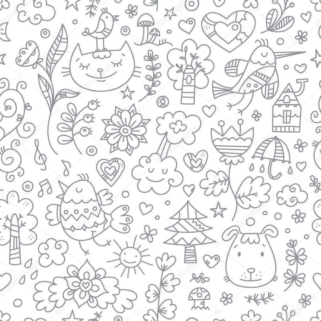 Seamless Pattern <b>Cute Cartoon</b> Cats <b>Dogs</b> Birds <b>White</b> Background ...