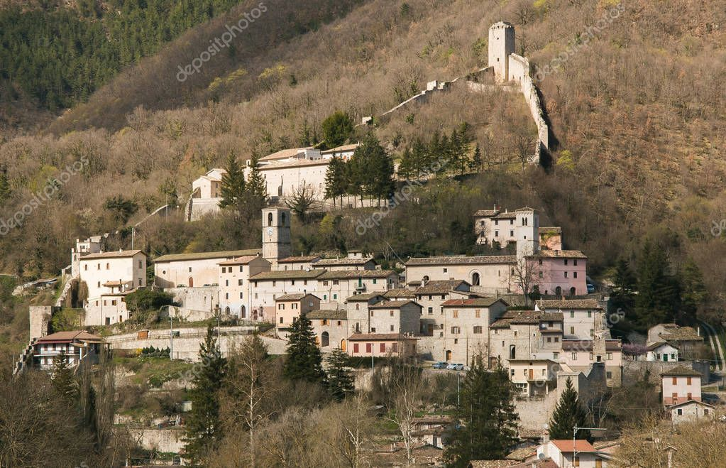 Medieval village of Castelsantangelo sul Nera destroyed by earthquake of central italy