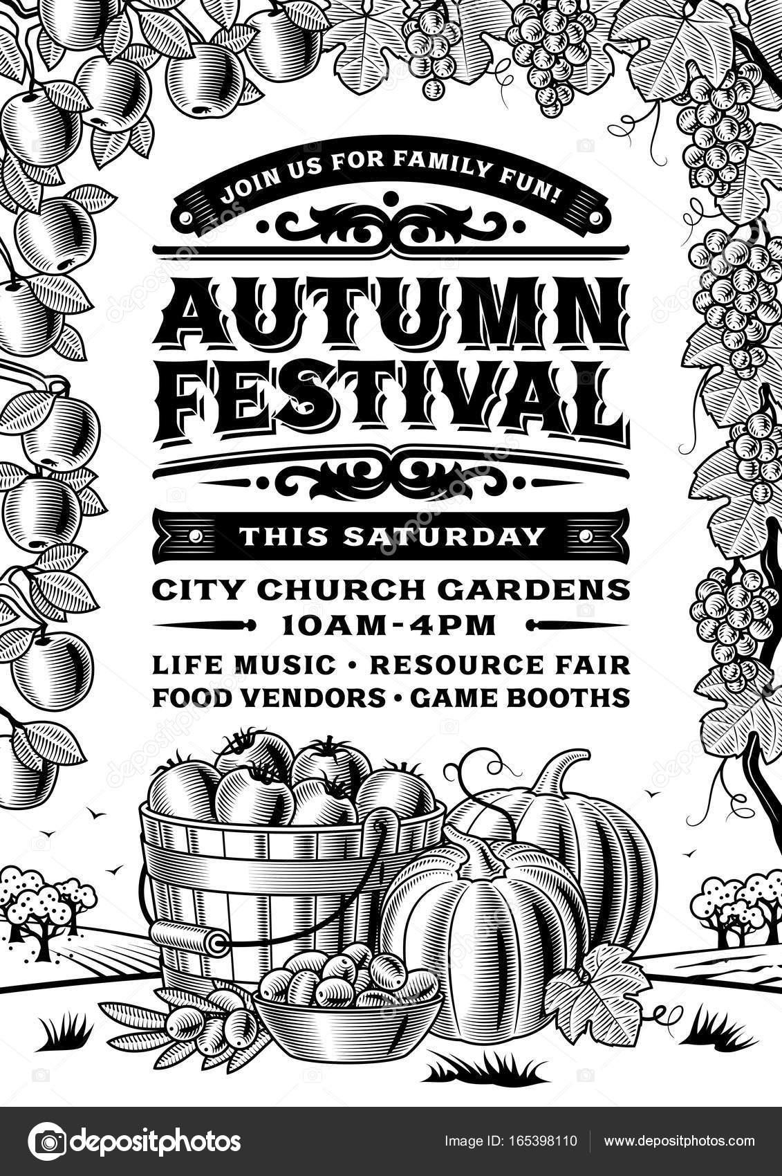 vintage automne festival affiche noir et blanc image vectorielle iatsun 165398110. Black Bedroom Furniture Sets. Home Design Ideas