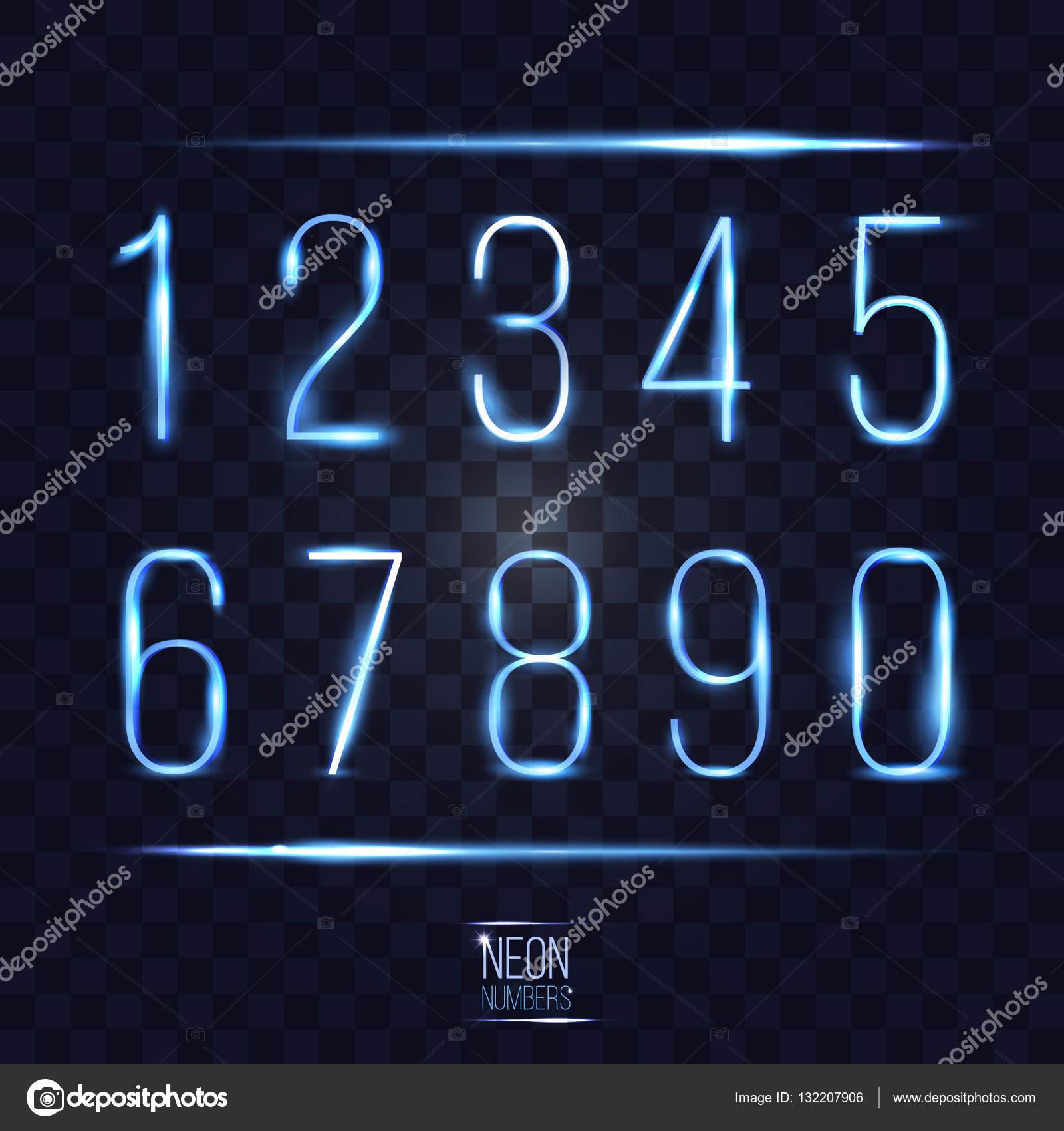 Resumen objetivo luminoso neón números en transparente cuadros nuevo ...