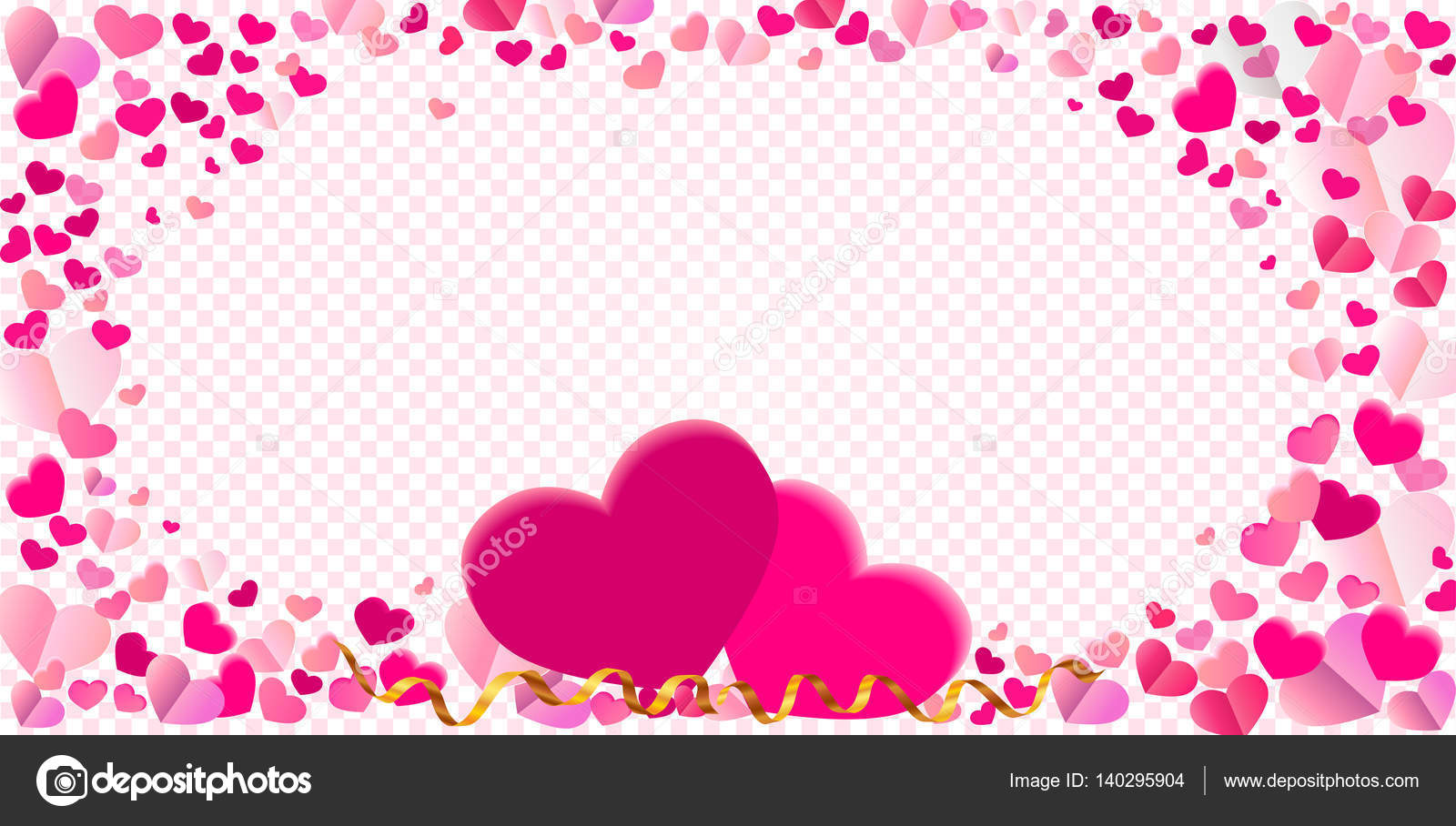 Vector de confeti rosa diferentes de forma de corazón del marco con ...