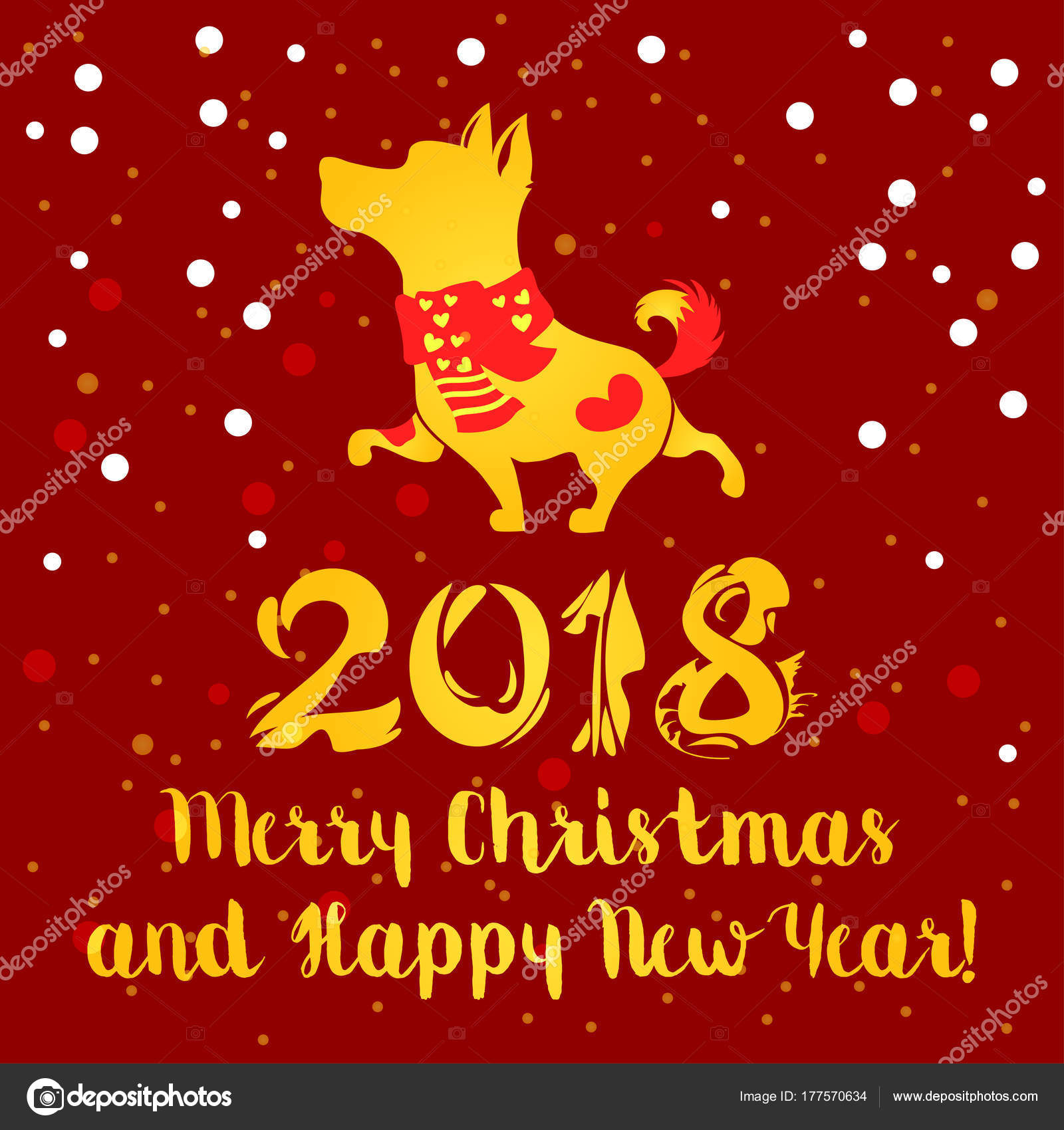 Yellow Dog On Red Background Symbol Of Chinese New Year Vector