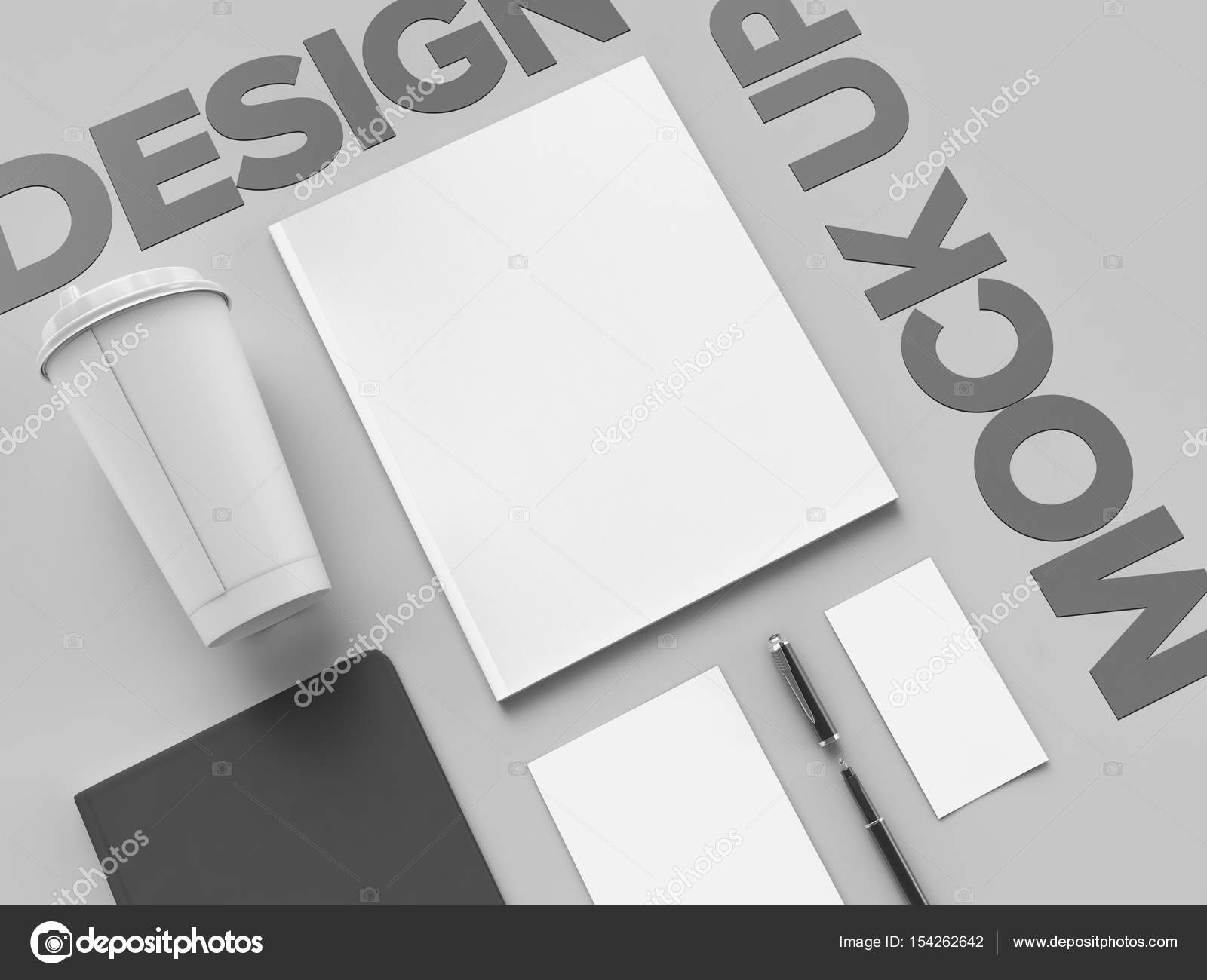Bureau de style au travail en monochrome sur fond gris avec design