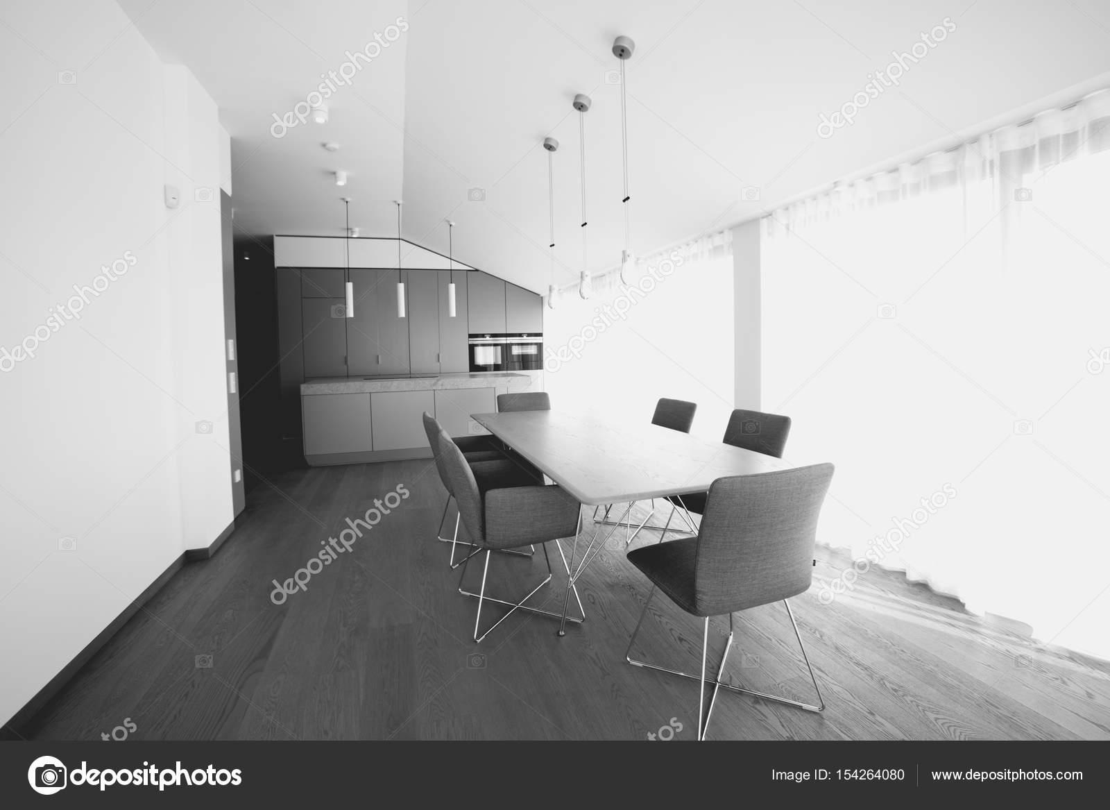 Moderne Buro Und Seiner Kuche Schwarz Weiss Innenraumkonzept