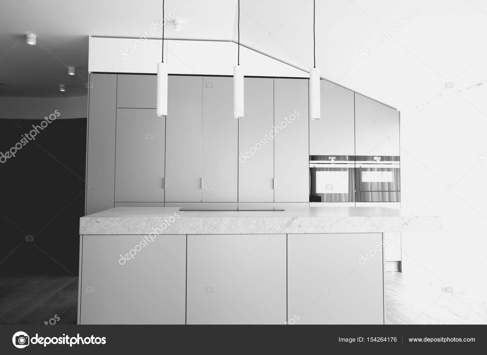 Bureau moderne et sa cuisine. concept dintérieur noir & blanc