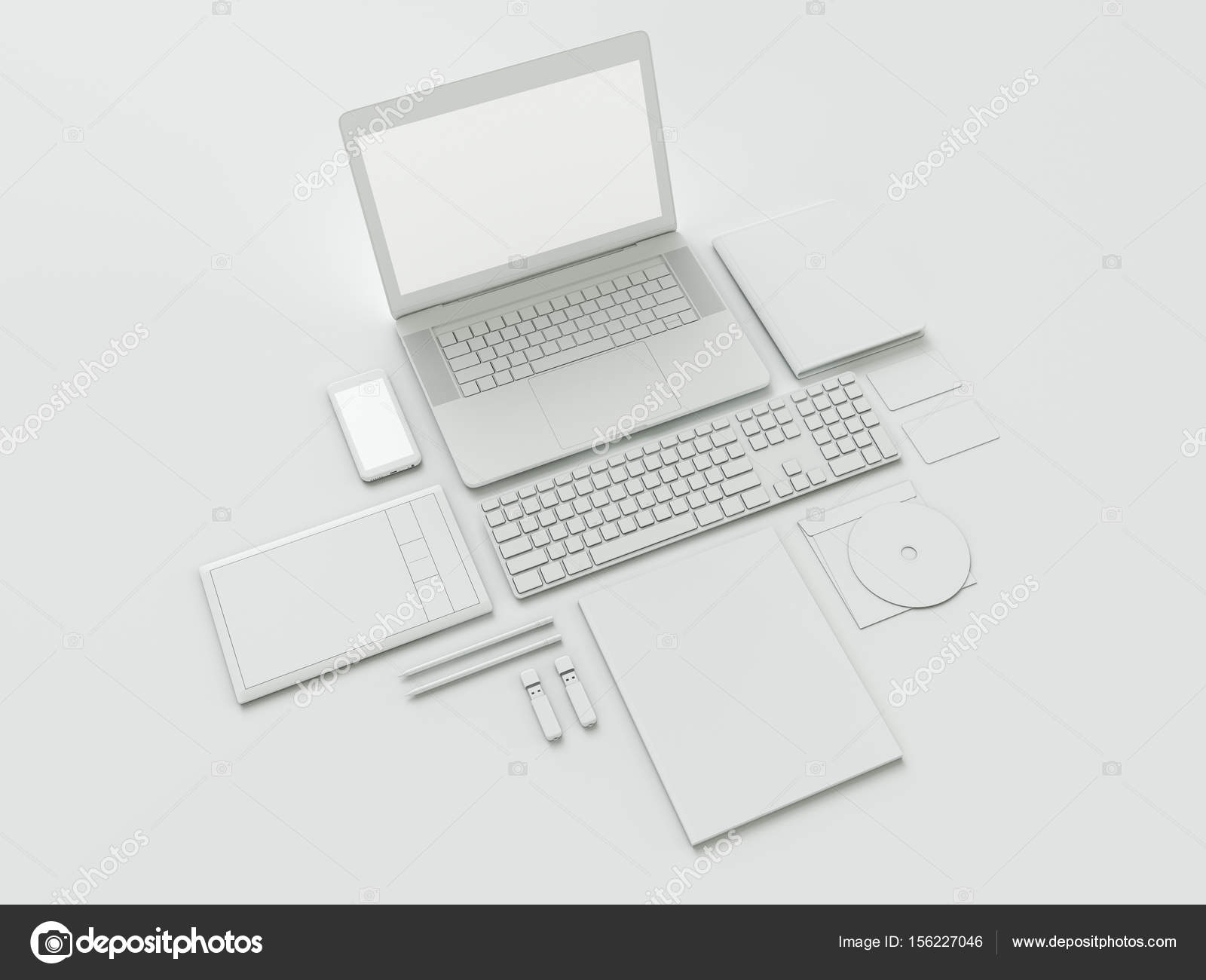 designer office desk isolated objects top view. Designer Office Desk Isolated Objects Top View. Modern Workplace With Metallic Laptop. View E
