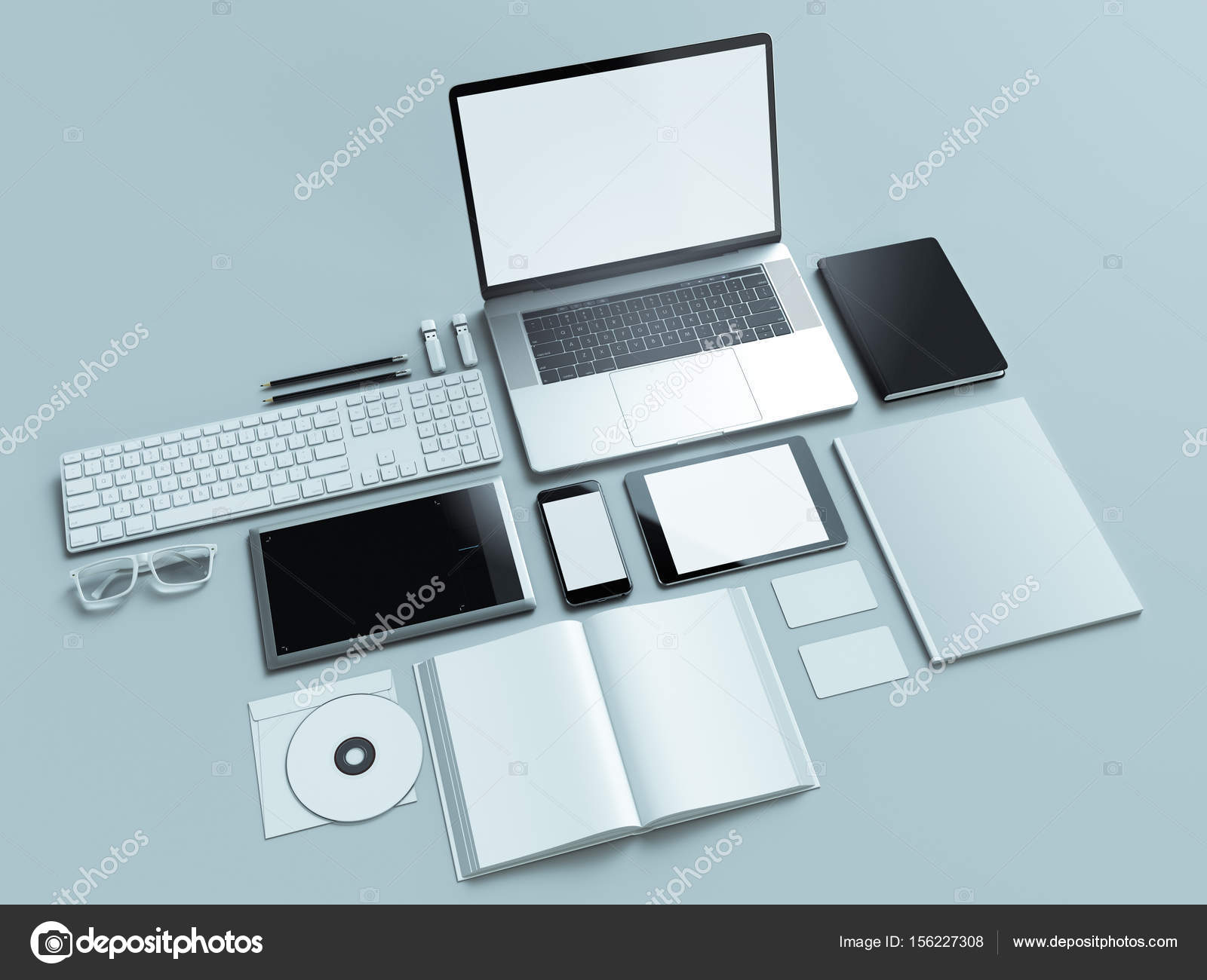 designer office desk isolated objects top view. Modern Office Workplace With Metallic Laptop. Isolated On White Background, Concept. \u2014 Photo By SectoR_2010 Designer Desk Objects Top View D