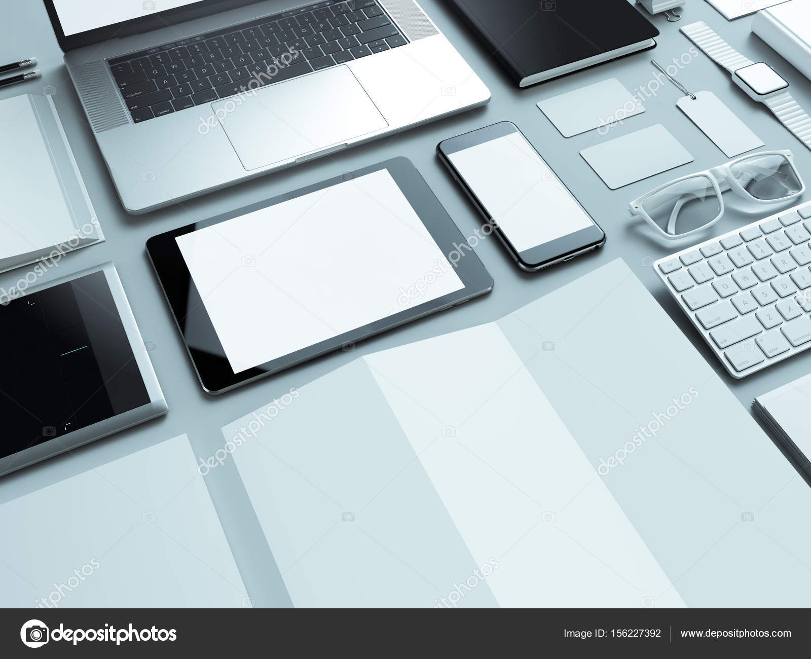 designer office desk isolated objects top view. Modern Office Workplace With Metallic Laptop. Isolated On White Background, Concept. \u2014 Photo By SectoR_2010 Designer Desk Objects Top View R