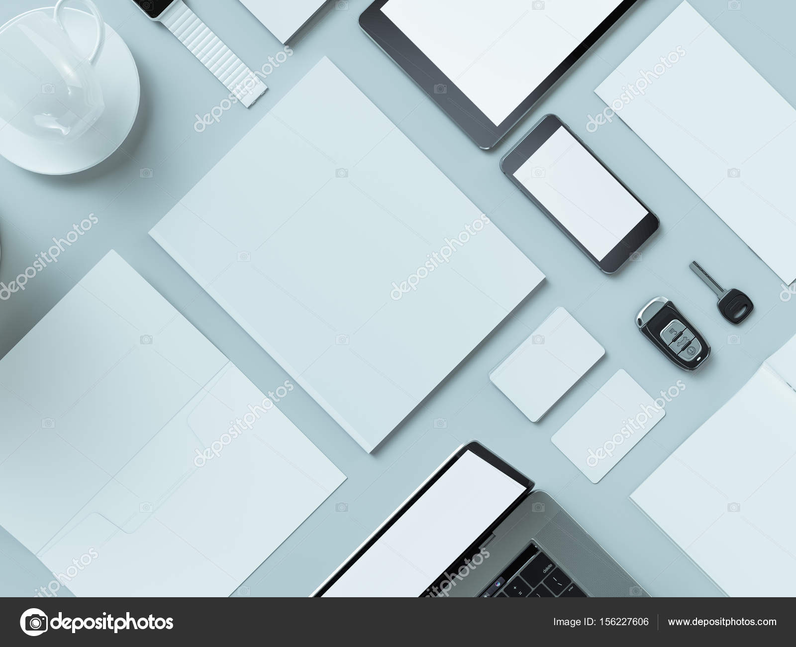 designer office desk isolated objects top view. Modern Office Workplace With Metallic Laptop. Isolated On White Background, Concept. \u2014 Photo By SectoR_2010 Designer Desk Objects Top View W