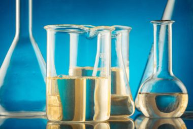 Lab glassware, science laboratory research and development conce