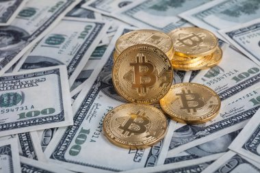 Gold bitcoin with microcircuits on a dollar background backgroun