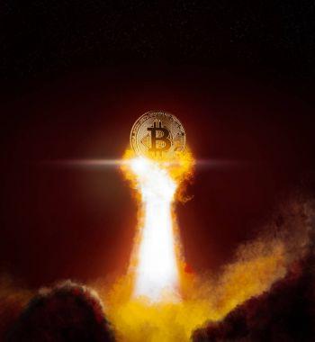 Bitcoin altın ve para yıldırım blockchain zor iş kavramı koyu arka plan üzerinde