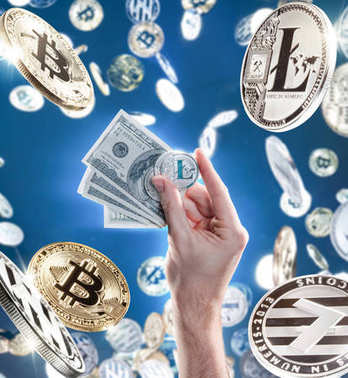 Hand with coins of litecoins against the backdrop of flying coins and dollar bills. Digital money exchange cryptocurrency concept