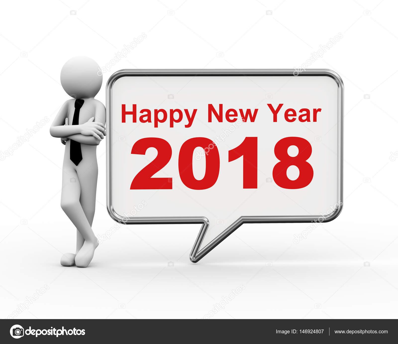 3d businessman new year 2018 speech bubble — Stock Photo © nasirkhan ...